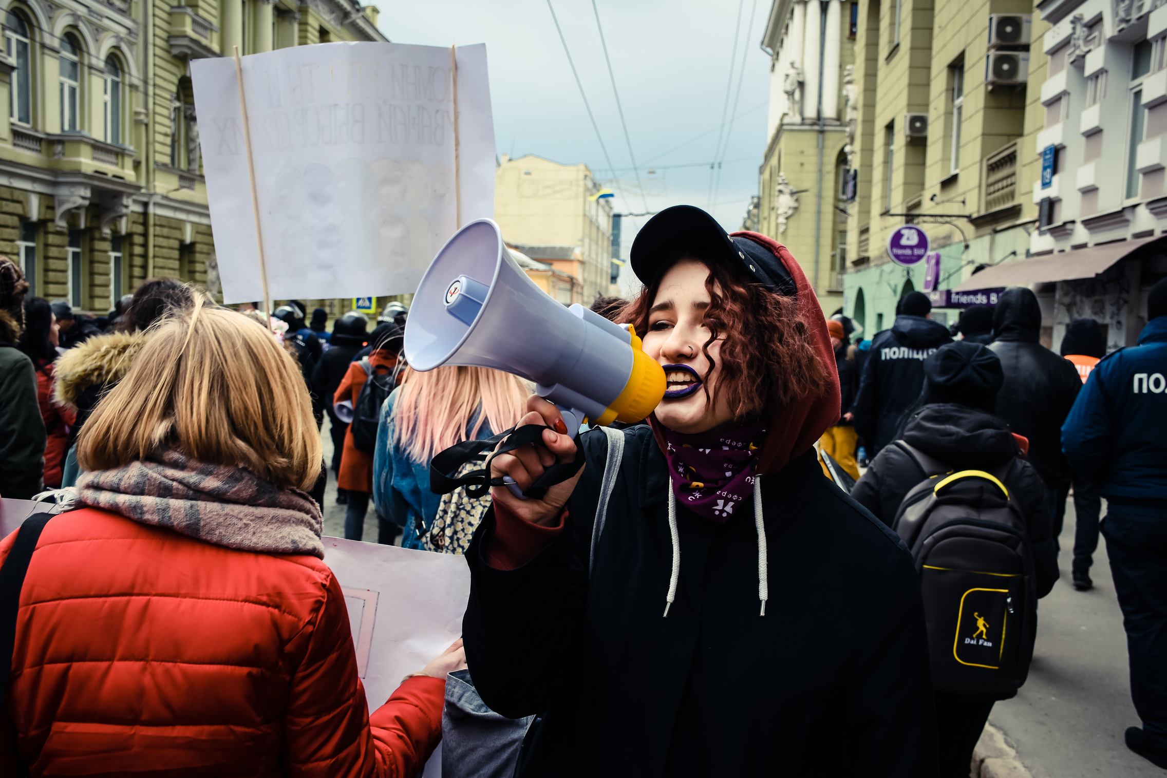 Протустувальниця під час Маршу жіночої солідарності, 8 березня 2019 р, Харків